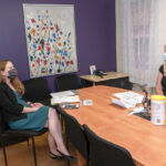 A HIRE CALLING: Vanessa Volz, left, executive director for Sojourner House Inc., speaks with Hannah Woodhouse, the new education coordinator for Sojourner House, who underwent a virtual interview and onboarding process for her new job. / PBN PHOTO/MICHAEL SALERNO