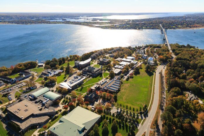 COLLEGES AND UNIVERSITIES across Rhode Island, including Roger Williams University, pictured, have overall kept COVID-19 under control on their campuses during the fall semester despite the growing community-wide surge. / COURTESY ROGER WILLIAMS UNIVERSITY