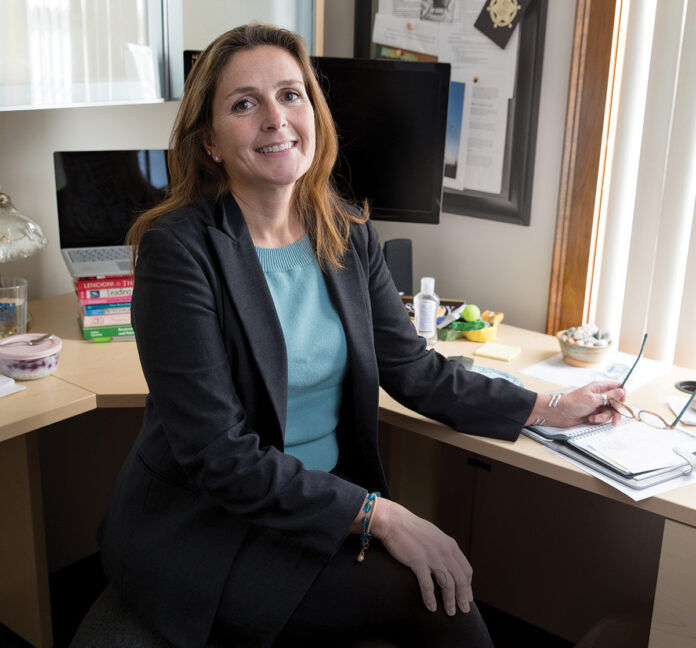 Chris Gadbois is an advanced practice public health nurse who became CEO of East Providence-based CareLink Inc. in 2019. Later that year, she was elected president of the nonprofit Rhode Island Public Health Association, an affiliate of the American Public Health Association.  / PBN PHOTO/RUPERT WHITELEY