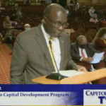 REP. MARVIN ABNEY, D-Newport, the chairman of the House Finance Committee, discusses the fiscal 2021 state budget, which the House approved Wednesday. / COURTESY CAPITOL TV