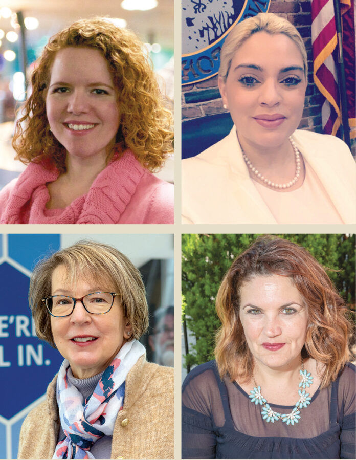 LADIES FIRST: Clockwise from top left: Katje Afonseca, CEO of Big Brothers Big Sisters of Rhode Island; Central Falls Mayor Maria Rivera; Kristen Adamo, CEO and president of the Providence Warwick Convention & Visitors Bureau; and Sandra J. Pattie, CEO and president of BankNewport, will be panelists during the virtual one-year anniversary celebration of the Women's Business Council, hosted by the Northern Rhode Island Chamber of Commerce, on March 25. / COURTESY LORI VINER AND MARIA RIVERA/PBN FILE PHOTOS/MICHAEL SALERNO AND KATE WHITNEY LUCEY