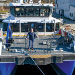 DOCKED: Charlie Donadio Jr., founder, CEO and president of Atlantic Wind Transfers, stands on board the Atlantic Pioneer, one of two vessels his company uses to transport technicians and equipment to offshore wind turbines for repairs and maintenance.  / COURTESY ATLANTIC WIND TRANSFERS