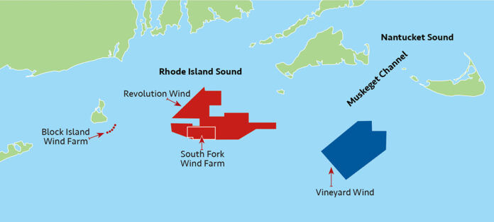 THE REVOLUTION WIND, South Fork Wind Farm and Vineyard Wind offshore wind projects in waters off the coast of southern New England are all currently in various stages of the permitting process. / SOURCE: R.I. DEPARTMENT OF ENVIRONMENTAL MANAGEMENT / PBN FILE GRAPHIC/ANNE EWING
