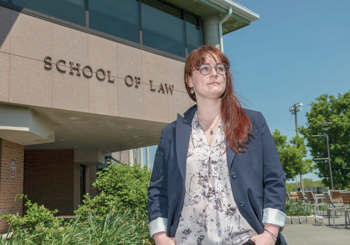 EXTRACURRICULAR ACTIVITY: A lawsuit filed on behalf of Roger Williams University law student Lindsay Koso was successful in persuading the R.I. Office of the Attorney General to waive a $225 fee when she requested copies of public records as part of research she was conducting for a law review article. / PBN PHOTO/MICHAEL SALERNO