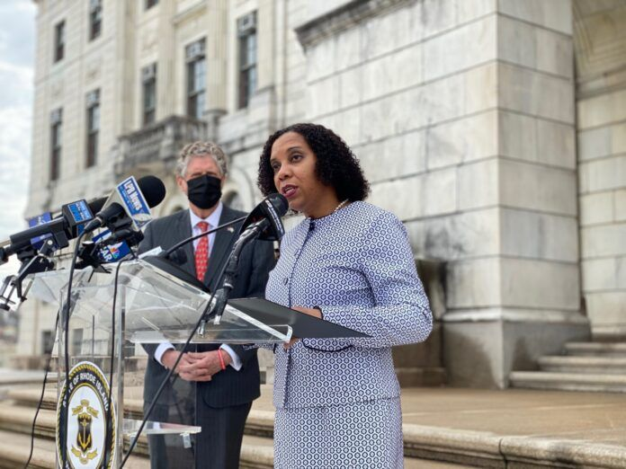 LT. GOV. SABINA MATOS, the former Providence City Council president, speaks after being nominated lieutenant governor by Gov. Daniel J. McKee on March 31. / COURTESY R.I. OFFICE OF THE GOVERNOR/ JONATHAN BISSONNETTE