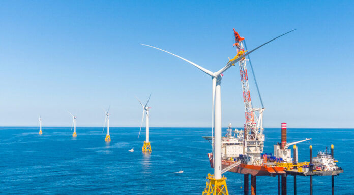 UNIVERSITY OF RHODE ISLAND researchers, along with colleagues from the University of Maine, received a $1.2 million grant from the U.S. Department of Energy to study the effectiveness of floating offshore wind turbines. / COURTESY ORSTED U.S. OFFSHORE WIND