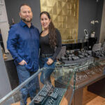 A NICE PAIRING: The Diamond Bar LLC, a custom design and retail jewelry store that sells engagement diamonds and has an in-store bar, is owned and run by Steve and Zhabrina Maniscalco. / PBN PHOTO/MICHAEL SALERNO
