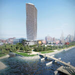 STILL HAPPENING? The pandemic has helped stall plans for a 46-story tower along the Providence River, but the Fane Organization insists it will move ahead with the project, depicted above in a rendering. / COURTESY FANE ORGANIZATION