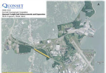 THE QUONSET DEVELOPMENT CORP. is breaking ground on the Mill Creek Railyard on Friday. The map shows the location of the planned railyard in yellow. / COURTESY QUONSET DEVELOPMENT CORP.
