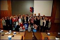 Walk America supporters meet<br>at Amica's corporate headquarters<br>in Lincoln.