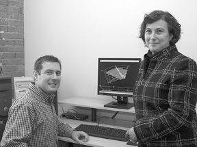 Cheryl Zimmerman and Matt Coolidge of FarSounder<br>display an image of their FS-3 Sonar.