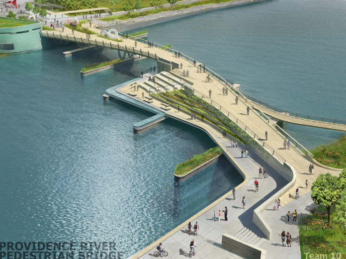 THE WINNING DESIGN for the new pedestrian bridge over the Providence River will include gardens and, facing downtown, a water-level cafe. For a larger version of this image, <a href=