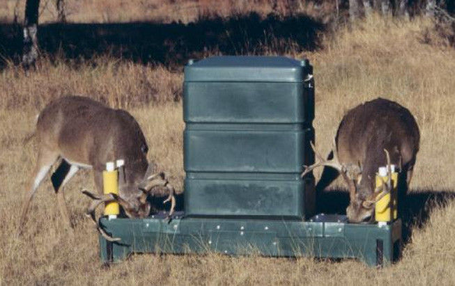FOUR-POSTER DEER FEEDERS, which treat deer with a pesticide that kills ticks, have been found effective at reducing populations of blacklegged ticks, which carry Lyme disease. / COURTESY U.S. ENVIRONMENTAL PROTECTION AGENCY