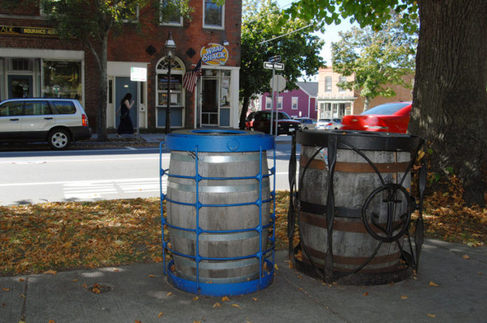 A TREASURE: Trash and recycling cans built at the Steel Yard in Providence in use on Hope Street in Bristol. / PBN PHOTO/BRIAN MCDONALD