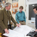 BUILDING SOMETHING: A4 Architecture is a full-service firm whose projects range from renovations to Newport mansions, residential projects and commercial redesigns. Pictured above, from left, are: Managing Director Ross Cann and architectural designers Daniel L'Esperance and Martin Wimberly. / PBN PHOTO/RUPERT WHITELEY