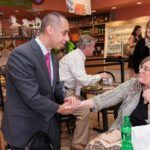 """MEET AND GREET: Mayor-elect Jorge Elorza shakes hands with Zita Bolton at LaSalle Bakery the day after winning his race against Vincent A. """"Buddy"""" Cianci Jr. / PBN PHOTO/ MICHAEL SALERNO"""