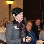 CROSS EXAMINATION: Kimberly McCarthy, a partner at Partridge Snow & Hahn, asks a question at the Providence Business News summit on Leadership and Entrepreneurship. / PBN PHOTO/MICHAEL SKORSKI