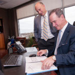 PRACTICE MAKES PERFECT: DiSanto, Priest & Co. saw the landscape shifting in the accounting profession toward diversified services and responded nine years ago with the creation of the Bentley Group. Above, Managing Partner Emilio Colapietro, left, with Director of Business Development David DiSanto. / PBN FILE PHOTO/MICHAEL SALERNO