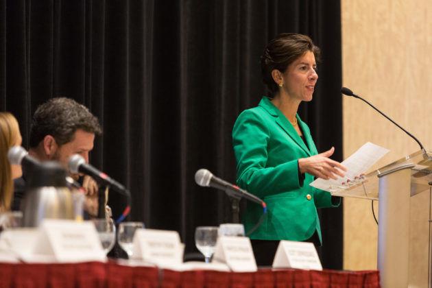 Governor Gina Raimondo addresses the Summit audience / Rupert Whiteley