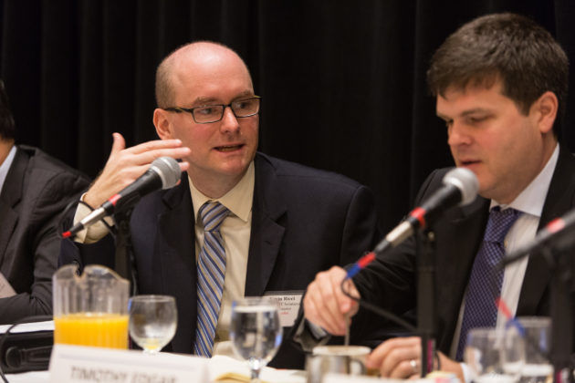 Panelists Kevin Ricci, LGC+D/IT Solutions and Timothy Edgar, Brown University's Watson Institute / Rupert Whiteley