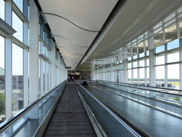 THE SKY BRIDGE at T.F. Green Airport is shown in this photograph. The airport was named the third best in the country in Conde Nast Traveler's 2015 Readers' Choice Awards. / COURTESY GETTY IMAGES