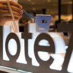 SAMSUNG Electronics Co. is letting travelers exchange their Note 7 smartphones at special booths set up at America's busiest airports. / BLOOMBERG NEWS PHOTO/SEONGJOON CHO