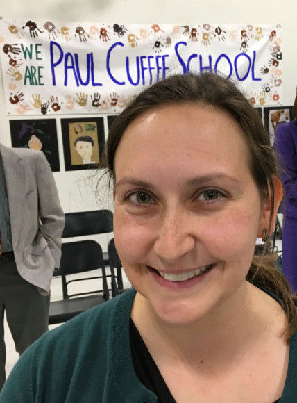EMILY CALDARELLI,  fourth-grade teacher at Paul Cuffee Lower School in Providence, won the $25,000 Milken Education Award. She was presented the award during a surprise ceremony on Tuesday at the school. / COURTESY R.I. DEPARTMENT OF EDUCATION