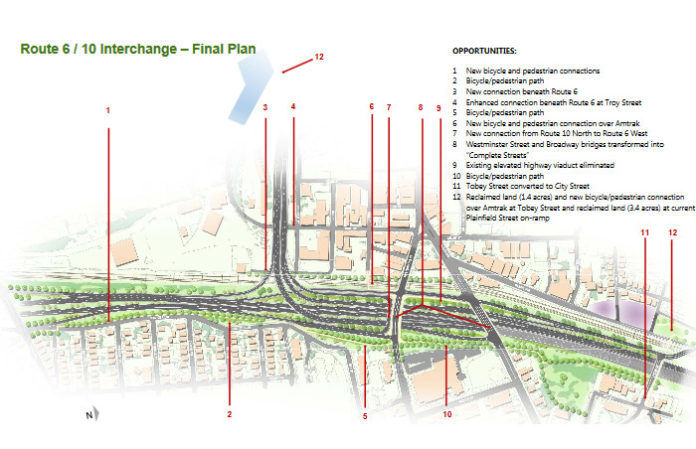 THE R.I. DEPARTMENT of Transportation on Wednesday announced it has initiated the process of collecting qualifications from firms who want to bid on the massive redesign and construction of the 6-10 Connector. / COURTESY R.I. DEPARTMENT OF TRANSPORTATION