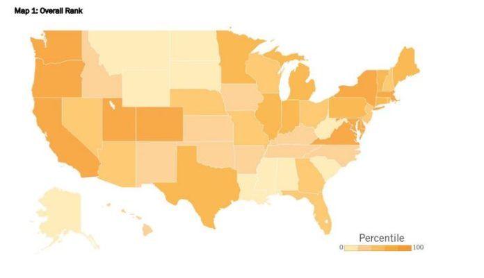 RHODE ISLAND RANKED NO. 19 for data innovation. / COURTESY CENTER FOR DATA INNOVATION