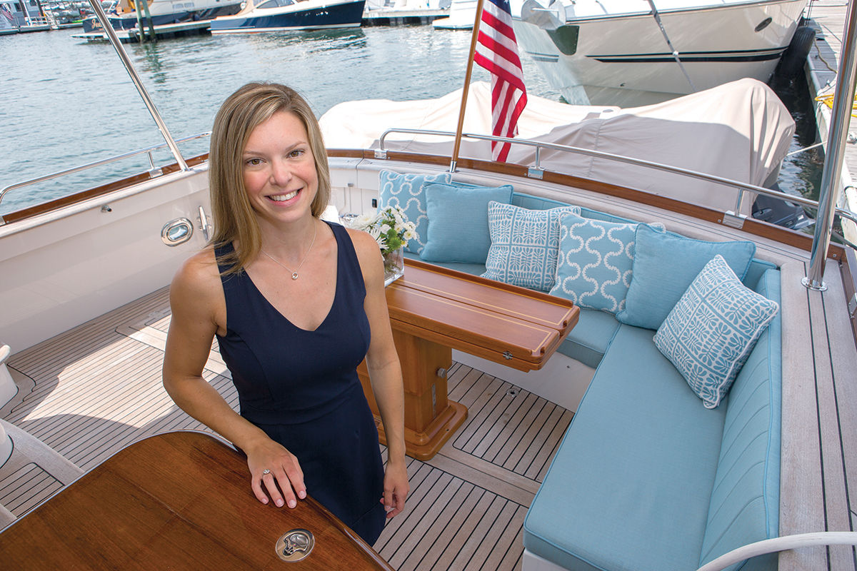 STEADY GROWTH: Ally Maloney, owner of Maloney Interiors LLC, has been designing interiors for yachts and some coastal residences since 2013. She says her business has grown steadily over the past four years. / PBN PHOTO/KATE WHITNEY LUCEY
