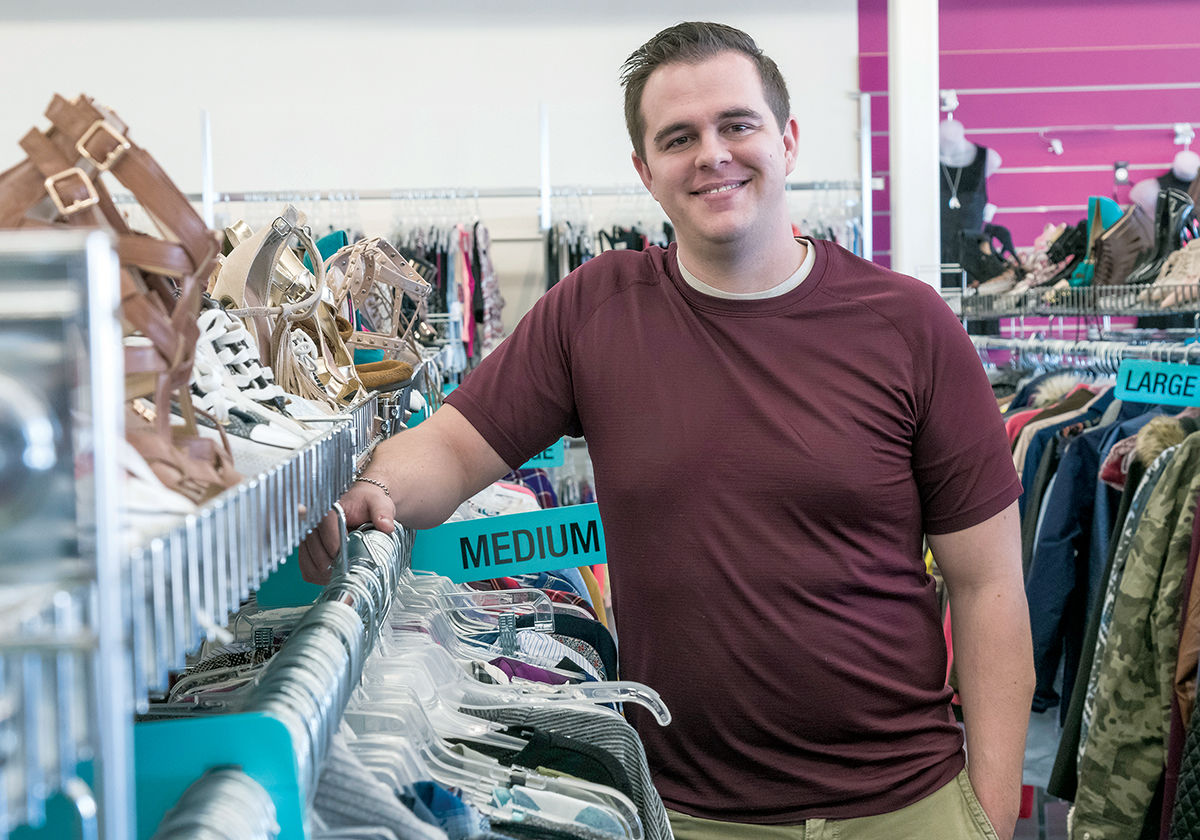 LATEST TRENDS: Anthony Moreland, owner of Plato's Closet in Warwick, offers the latest trends at discounted prices.   / PBN PHOTO/MICHAEL SALERNO