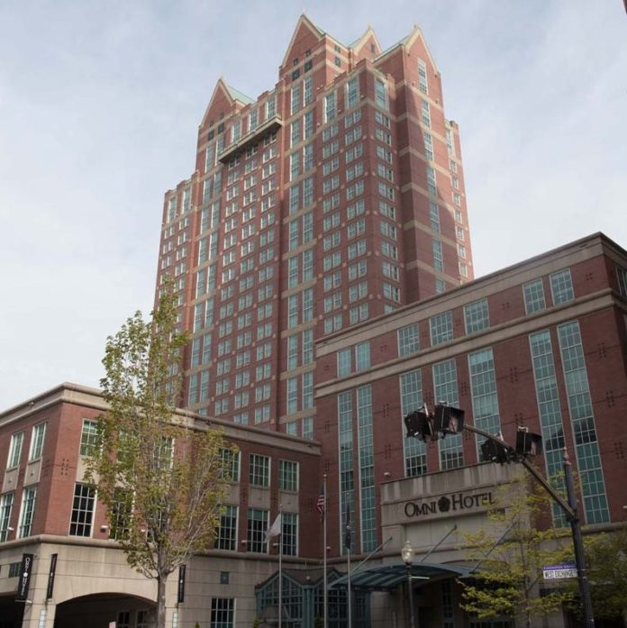 COLLECTIONS OF THE 5 PERCENT Hotel Tax in Rhode Island increased $140,618 year over year to $2.1 million in June. Above, the Omni Providence Hotel, which generated collection of $124,605 in 5 percent hotel tax in June. / PBN FILE PHOTO/STEPHANIE EWENS