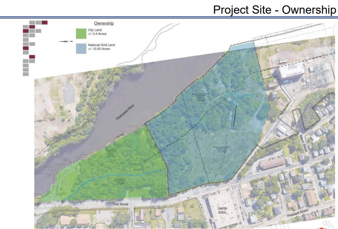 CHURCHILL & BANKS, a developer, has expressed interest in a mixed-use development on a portion of the Tidewater property in Pawtucket. / COURTESY CITY OF PAWTUCKET