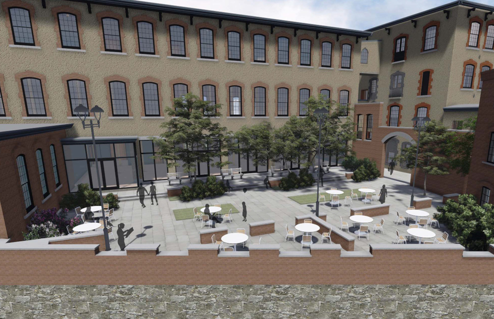 THE WASHINGTON TRUST CO. recently provided $23.6 million to finance the mixed-use redevelopment of Pontiac Mills in Warwick, shown by the rendering above. / COURTESY WASHINGTON TRUST