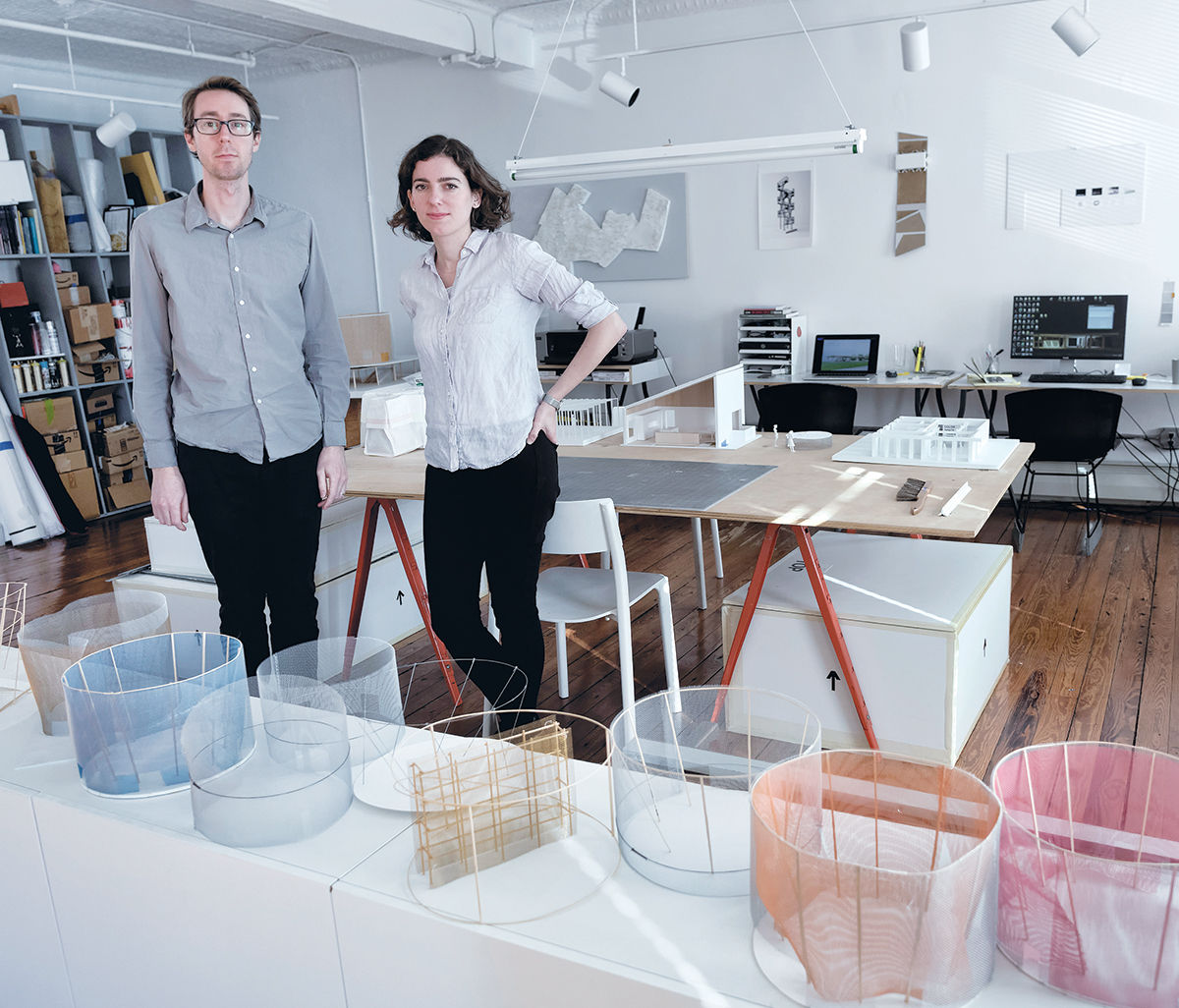 ACCLAIMED ARCHITECTURE: Aaron Forrest and Yasmin Vobis are the founders of Ultramoderne LLC, a Providence architectural firm that has recently won acclaim for one of its projects, a kiosk station called Chicago Horizon in Chicago. / PBN PHOTO/MICHAEL SALERNO