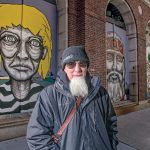 A CELEBRATION AND AN INTERVENTION: AS220 founder Bert Crenca has installed a series of five murals on the historical façade of the Providence National Bank in the city to celebrate the city's diversity.  / PBN PHOTO/MICHAEL SALERNO