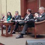 LISTENING: Miellette McFarlane, interim director of Real Jobs Rhode Island, answers a question at the PBN Workforce Development Summit. From left: Lisa Abbott, Lifespan; Damian Ewens, Opportunity@Work; McFarlane; Tim Hebert, Carousel Industries of North America and Trilix; Matthew Reeber, Pannone, Lopes, Devereaux & O'Gara; and Douglas H. Sherman, New England Institute of Technology. / PBN PHOTO/PAMELA BHATIA