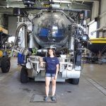 UNIVERSITY OF RHODE ISLAND junior Karla Haiat poses with an underwater exploration vehicle during her research internship at Harbor Branch Oceanographic Institute in Florida. She has been awarded the opportunity to study at the Monterey Bay Aquarium Research Institute in California this summer. / COURTESY KARLA HAIAT