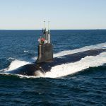 ELECTRIC BOAT will receive up to $20 million in incentives for its initiative to nearly double its square-footage in the Quonset Business park and hire 1,300 workers in Rhode Island as it scales up its workforce to build the Colombia-class submarine for the U.S. Navy. Above the Virginia-class submarine, which Electric Boat also produces for the Navy. / COURTESY ELECTRIC BOAT