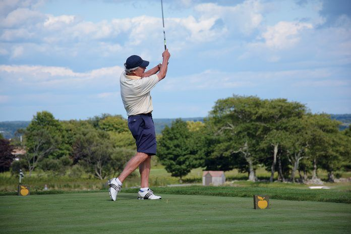 BIG SWING: A golfer takes a swing from the tee during a previous Preservation Society of Newport County Golf Outing at Newport National Golf Club in Middletown. The nonprofit will host its 18th annual outing at Newport National Golf Club Aug. 6. / COURTESY PRESERVATION SOCIETY OF NEWPORT COUNTY