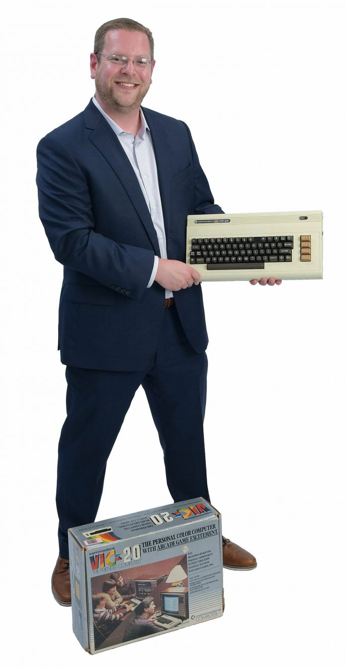 the prop: A Commodore VIC-20, from the original box. It sits on Jeff Wilhelm's desk and reminds him not to look back but to look forward because technology moves so quickly.   / PBN PHOTO/MIKE SKORSKI