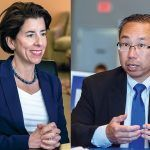 ACCORDING TO A July poll from Roger Williams University and WPRI-TV CBS 12, the race for governor remains a dead heat between Democratic Gov. Gina M. Raimondo and Republican Cranston Mayor Allan W. Fung. All told, there seem to be six major candidates for the state's top elected office. / PBN FILE PHOTOS/MICHAEL SALERNO AND RUPERT WHITELEY