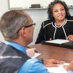 CHANGING INDUSTRY: Cheryl Burrell, right, associate director of the Office of Diversity, Equity and Opportunity in the R.I. Department of Administration, is heading the state's efforts to further diversify the construction industry. At left are Dorinda Keene, assistant administrator of MBE, or minority business enterprise, and Elvys Ruiz, chief supplier to diversity officer. / PBN PHOTO/MICHAEL SALERNO