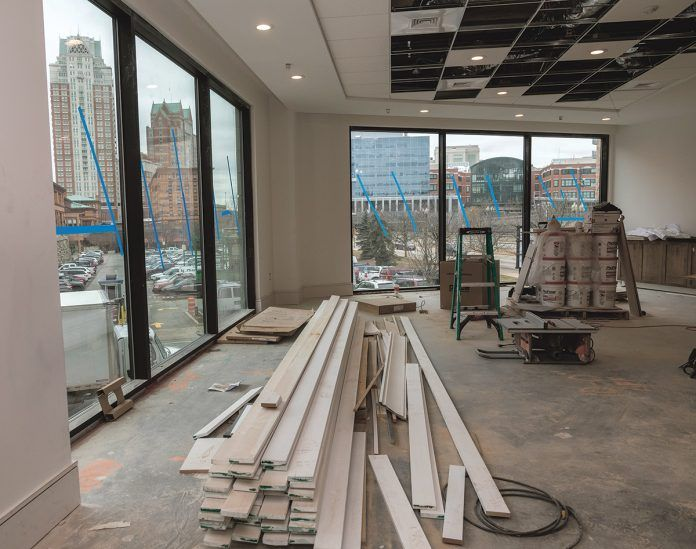 PANORAMIC VIEW: Homewood Suites by Hilton Providence Downtown, a new extended-stay hotel under construction at the corner of Exchange Street and Memorial Boulevard in downtown Providence, offers panoramic views from the first-floor windows. / PBN PHOTO/MICHAEL SALERNO