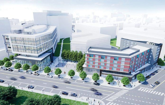 THE COMMERCE RI Board of Directors approved incentives for CV Properties and its construction of the Aloft Hotel in the I-195 Innovation District. Above on the right, an initial rendering of the hotel. Commerce also approved incentives for the relocation and staff hiring at Custom & Miller Box and approved five innovation vouchers Monday. / COURTESY WEXFORD SCIENCE & TECHNOLOGY