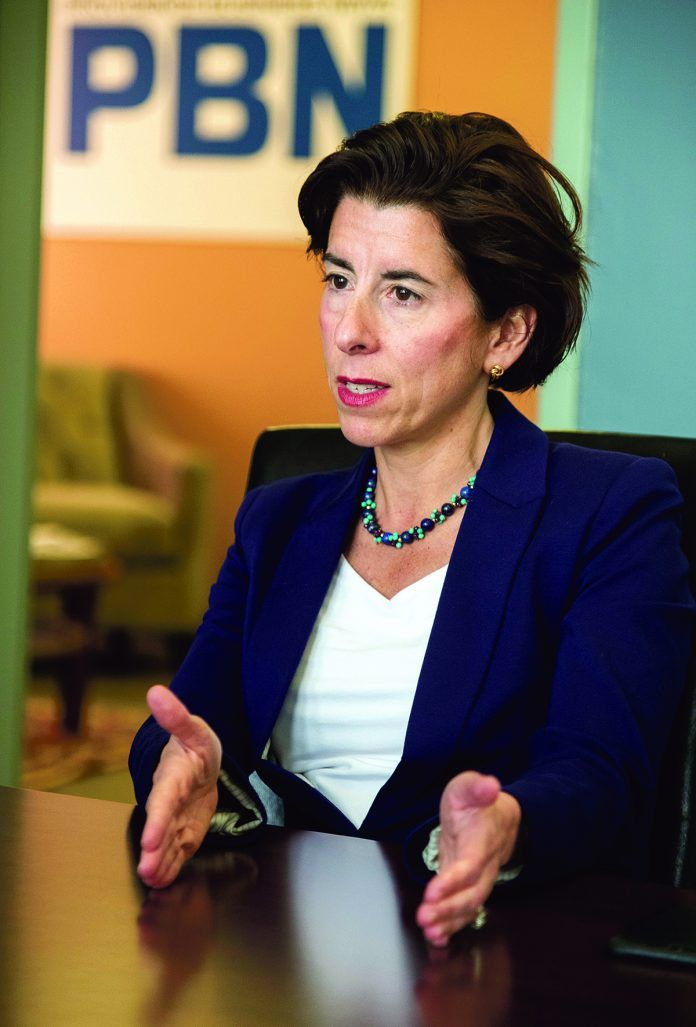 ASSESSMENT FEE: Gov. Gina M. Raimondo has proposed a fiscal 2020 budget that includes a Medicaid Employer Assessment Fee, which if approved would annually charge companies that employ 300 or more workers as much as a $1,500 penalty per employee who was not offered health insurance but then qualified for state-supported Medicaid. / PBN FILE PHOTO/MICHAEL SALERNO