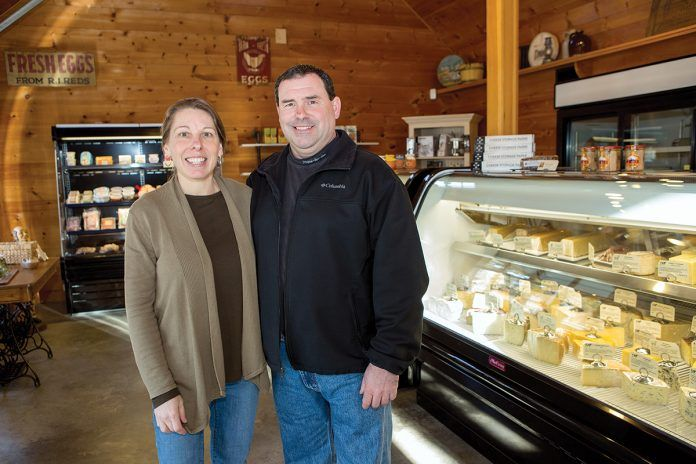 ONE-STOP SHOP: Bill and Diana Bothelo opened The Cheese Wheel in Tiverton in November. The shop sells packaged meats and cheeses, shown below.   / PBN PHOTO/KATE WHITNEY LUCEY