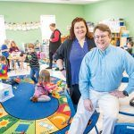 CHILD CARE: Clay and Gina Johnson are the owners of The Goddard School in South Kingstown. The school offers all-day child care preschool programs for infants through prekindergarten. There are 120 students enrolled this semester. / PBN PHOTO/DAVE HANSEN