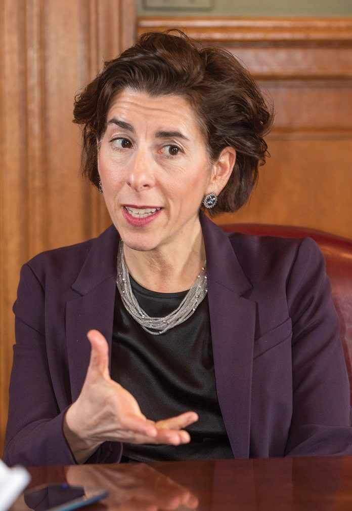 MAKING THINGS HAPPEN: Gov. Gina M. Raimondo, providing welcoming remarks at Thursday's Economic Outlook Breakfast, said her job in her second term will be to help sustain the economic momentum Rhode Island has been experiencing. / PBN PHOTO/DAVE HANSEN