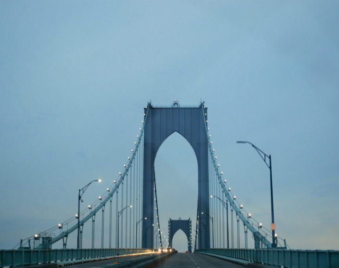 WORK IS SCHEDULED to resume on the Newport Pell Bridge in May, requiring lane closures during non-rush hours. / PBN FILE PHOTO/NICOLE DOTZENROD